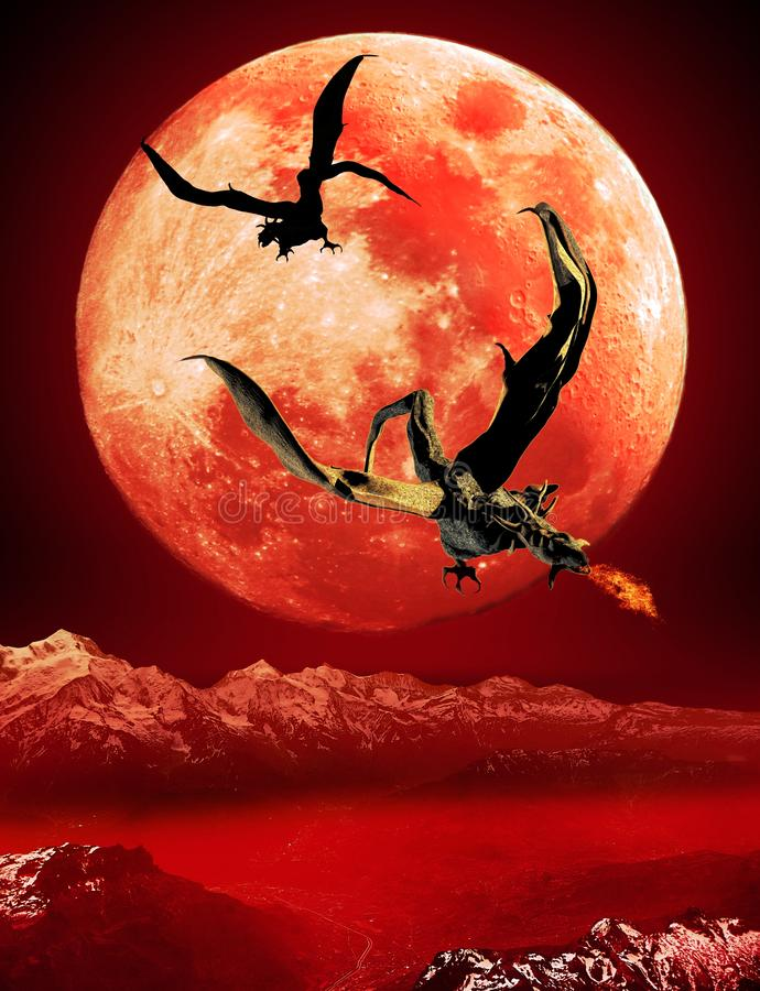 Dragons de la lune rouge illustration stock