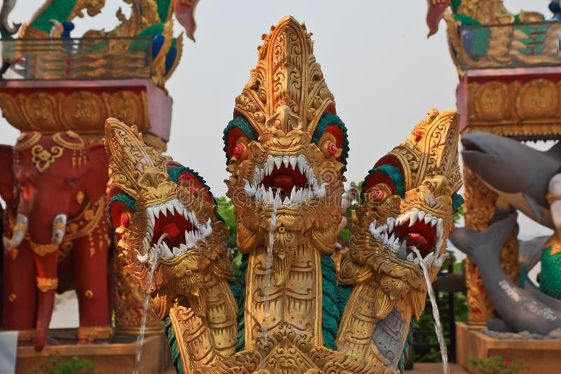 Dragons, elephants and fish. Fountain. The famous Golden Triangle. Place on the Mekong River, which borders three countries - Thailand, Myanmar and Laos. Dragons stock photos