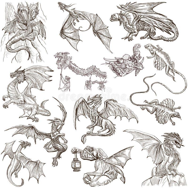 dragons Esboços a mão livre tirados uma mão originais ilustração do vetor