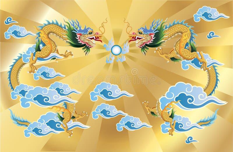 2 dragons et boules de cristal sur le fond d'or illustration stock