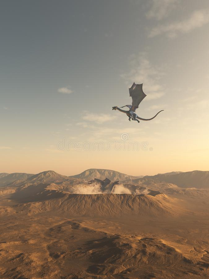 Dragons Flying Around a Desert Crater. Fantasy illustrations of dragons flying around a steaming crater in the desert, 3d digitally rendered illustration vector illustration