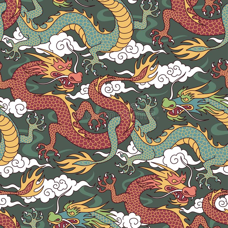 Dragons on green royalty free illustration