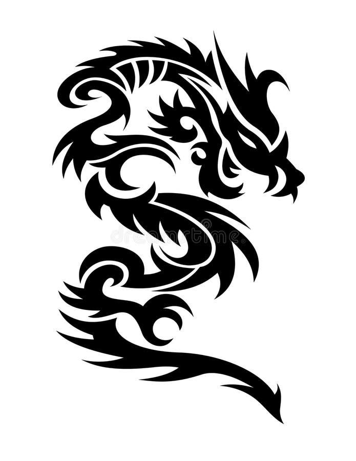 Dragons illustration. A black dragons illustration posing royalty free illustration