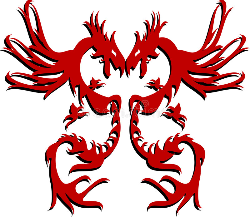 Dragons jumeaux illustration de vecteur