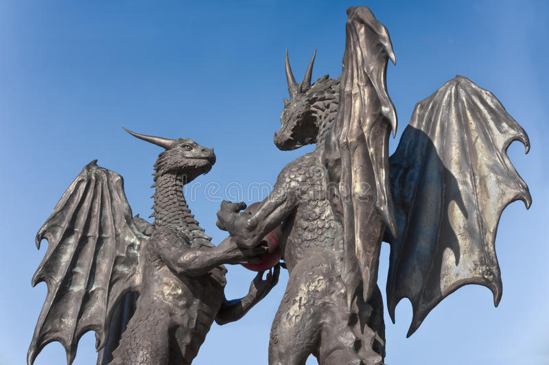 `The dragons in love` sculpture in Varna, Bulgaria. Varna, Bulgaria - December 09, 2016: Modern Statue `The Dragons in Love` by the artist Darin Lazarov, located royalty free stock photo