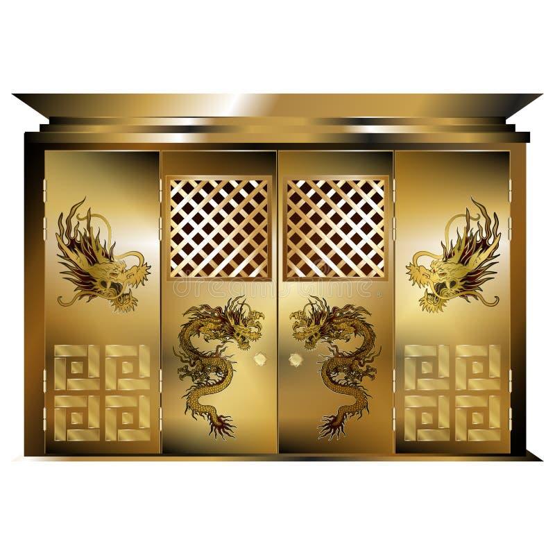 Dragons orientaux traditionnels d'or de porte illustration libre de droits