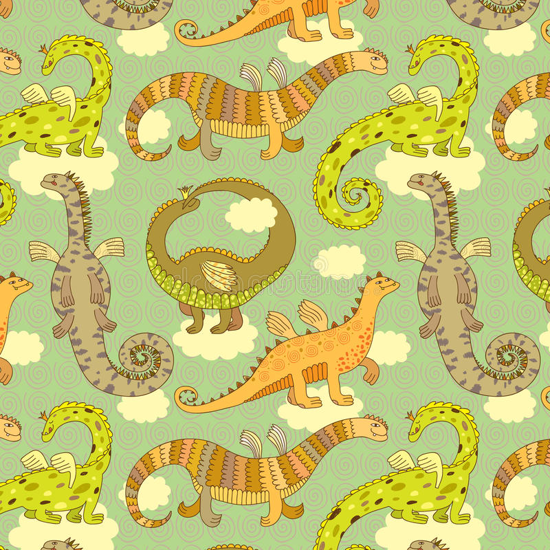 Dragons pattern vector illustration