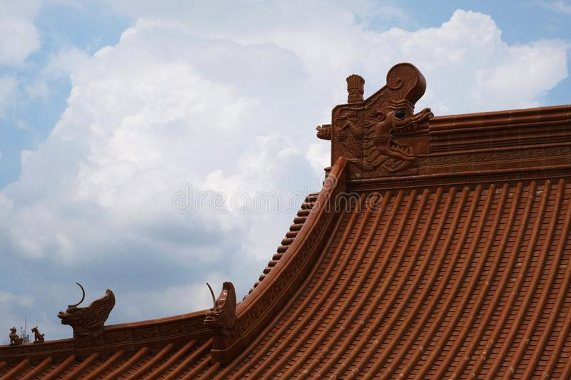 Dragons on the roof of a Chinese temple. Yesterday,I travel to visit the most beautiful Chinese temple in a province nearby the capital city of Thailand and took stock photos