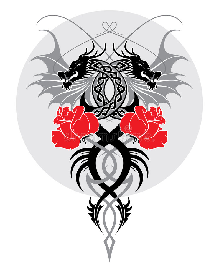 Dragons and rose royalty free illustration