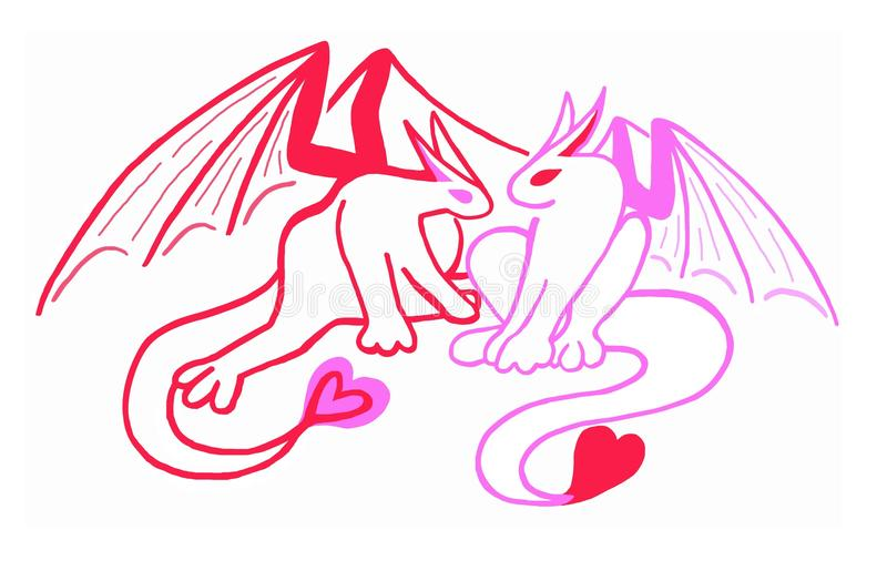 Dragons rouges et roses de coeur, Saint-Valentin illustration libre de droits
