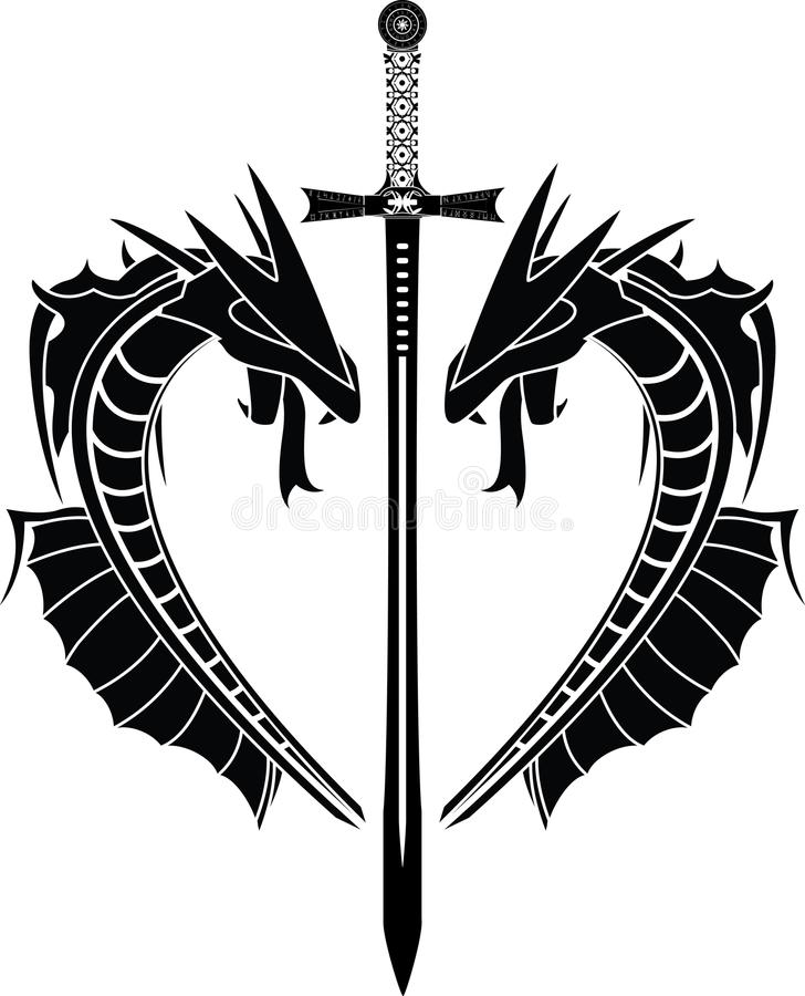 Dragons And Sword Stock Images