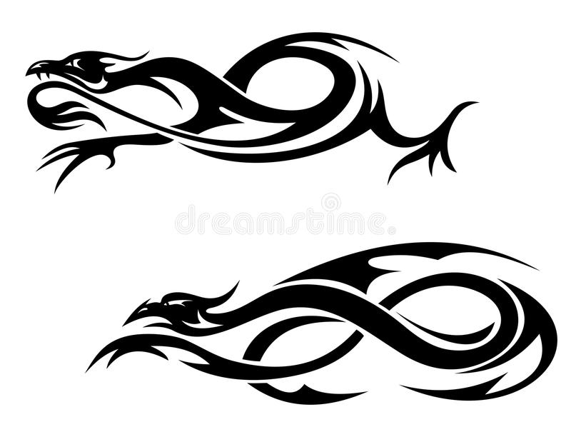 Dragons tribals illustration stock