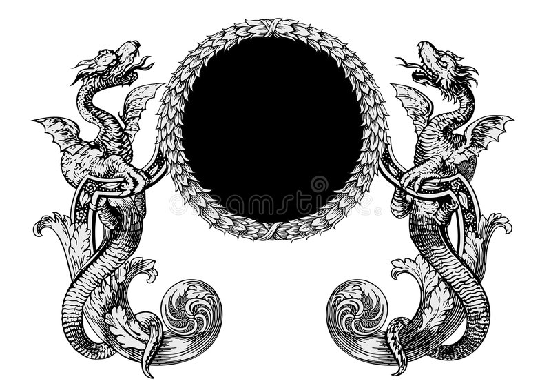Dragons vector. Vector illustration of fairy dragons with frame