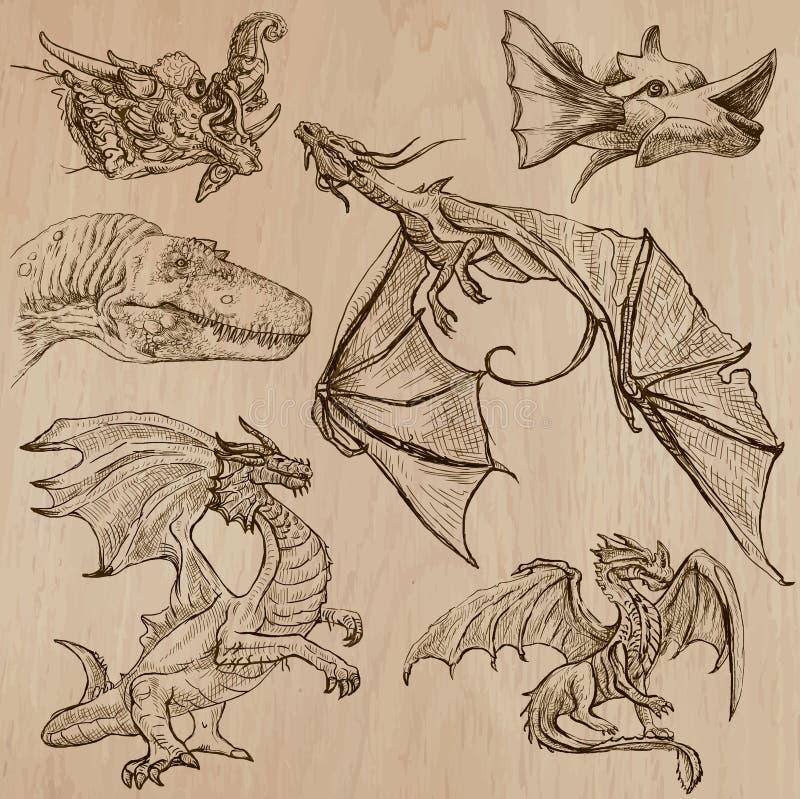 dragons Vetores tirados uma mão em um bloco ilustração do vetor