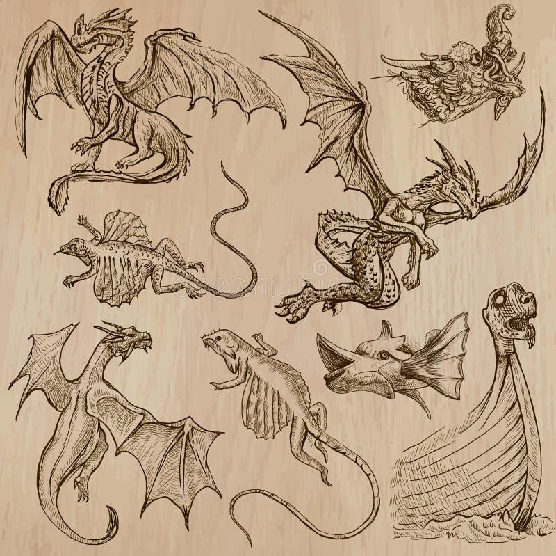 dragons Vetores tirados uma mão em um bloco ilustração stock