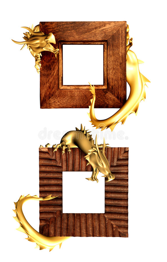 Download Dragons and wooden frames stock illustration. Illustration of golden - 20830322