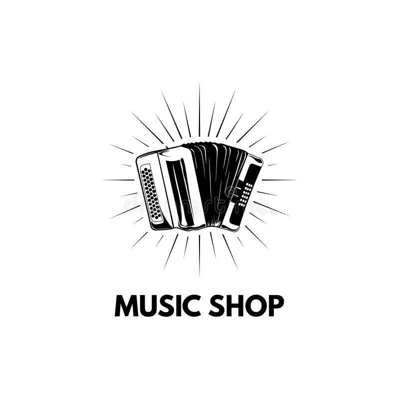 Dragspel Bayan Musik shoppar lagerlogoetiketten saxofon för del för hornsectioninstrument musikalisk vektor vektor illustrationer