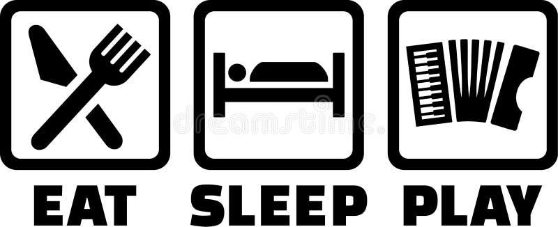 Dragspelet äter sömnlek stock illustrationer
