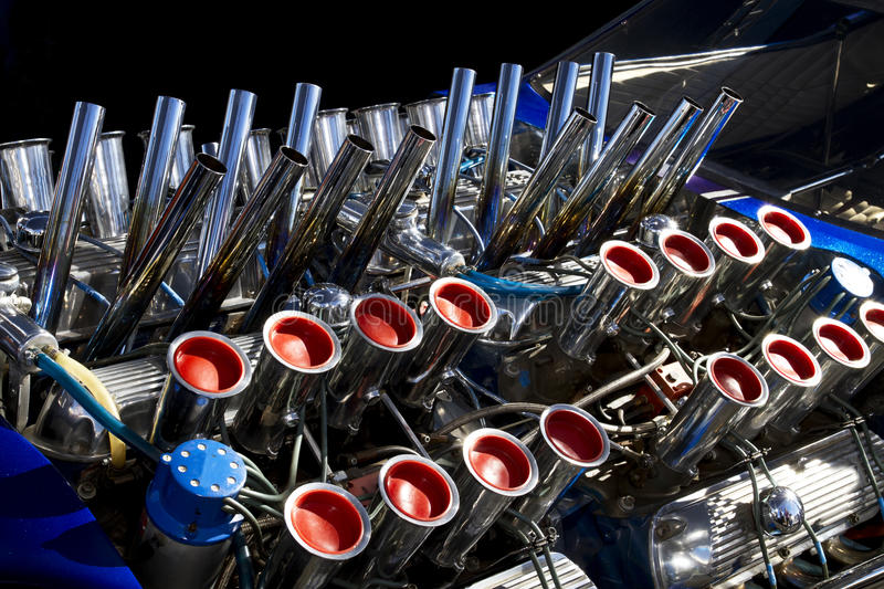 Dragster Engines. Four super horsepower American dragster engines in tandem royalty free stock photos