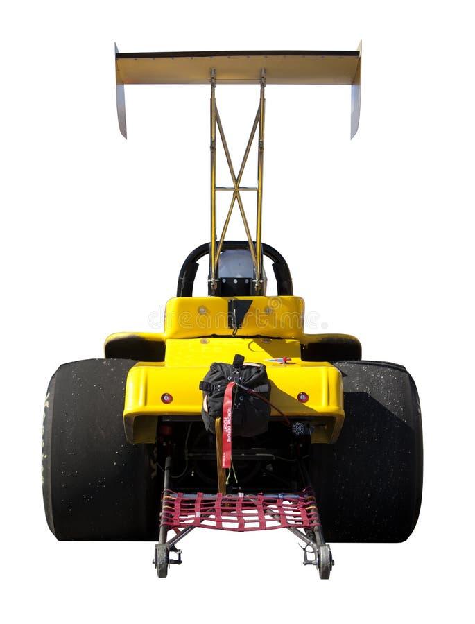 Dragster jaune vu par derrière d'isolement sur le blanc image libre de droits
