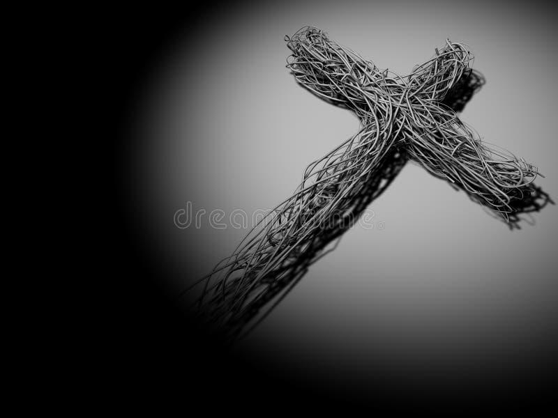 Draht-Kreuz Im Scheinwerfer Stock Abbildung - Illustration von jesus ...