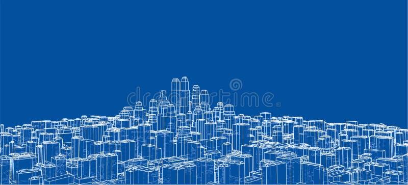 Draht-Rahmen Stadt, Plan-Art vektor abbildung