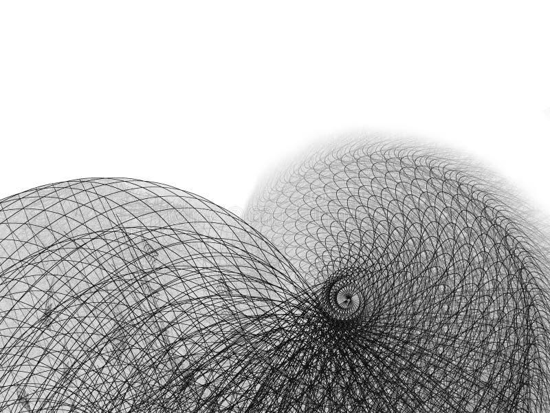 Draht und Zeile gewundene Abbildung auf Weiß stockfotografie