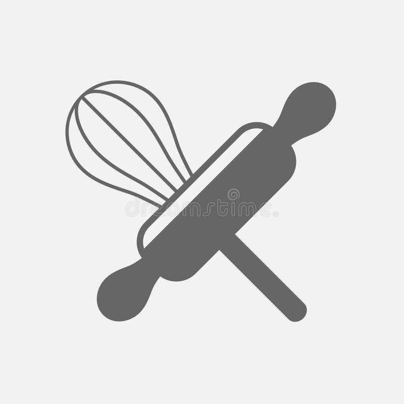 Draht wischen Küchengerät und hölzerne Nudelholz Bäckereistiftrolle lizenzfreie abbildung