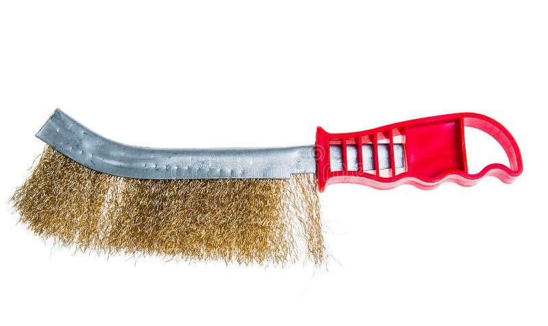 Drahtbürste-Werkzeugmetall, zum rustikales zu entfernen lokalisiert auf Weiß stockfotos