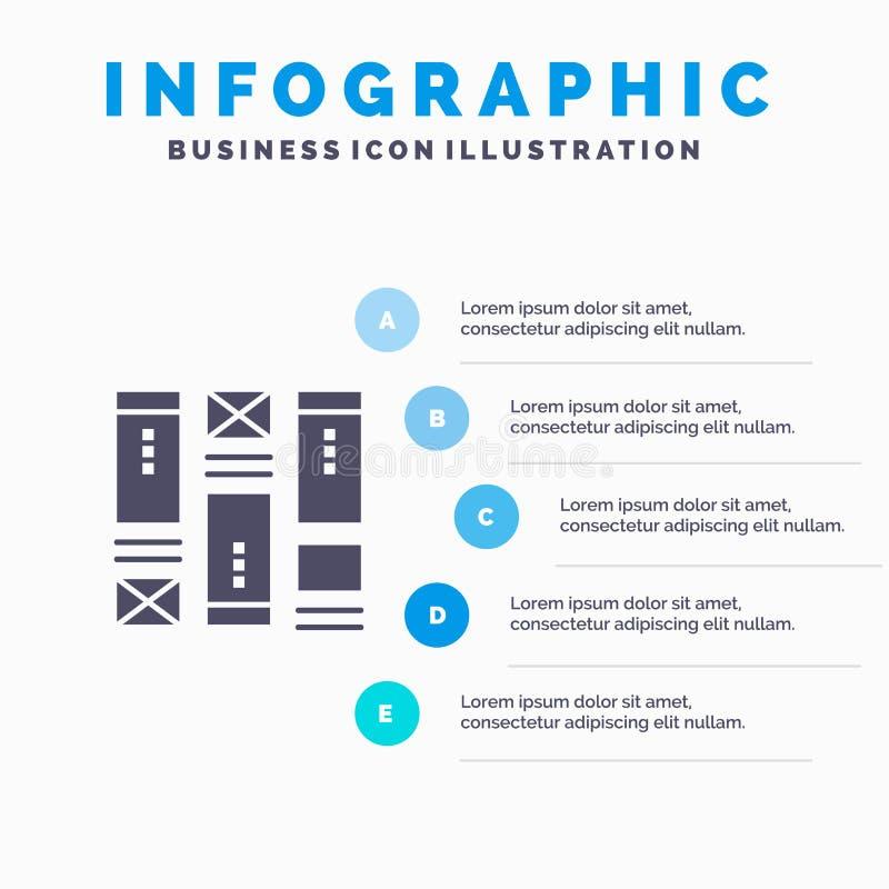 Drahtgestaltung, skizzierend, Wireframe, Idee Infographics-Darstellungs-Schablone 5 Schritt-Darstellung vektor abbildung