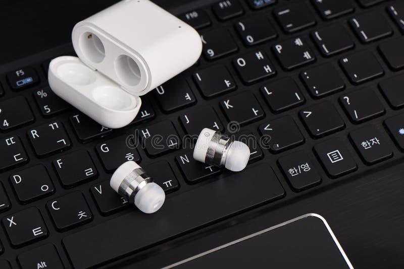 Drahtlose bluetooth earbuds lizenzfreie stockfotos