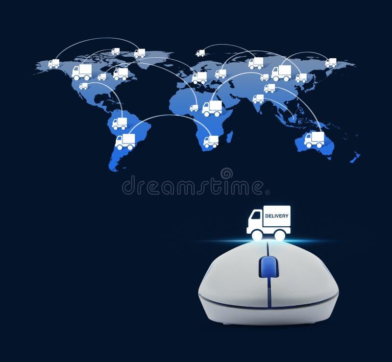 Drahtlose Computermaus mit Lieferwagenikone und LKW-Welt lizenzfreie abbildung