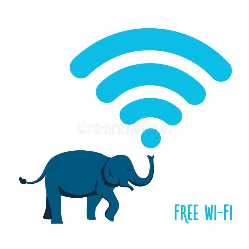 Drahtlose Ikone mit einem Elefanten lizenzfreie abbildung