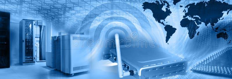 Drahtlose Web-Bewirtung Montage-Blau lizenzfreie abbildung