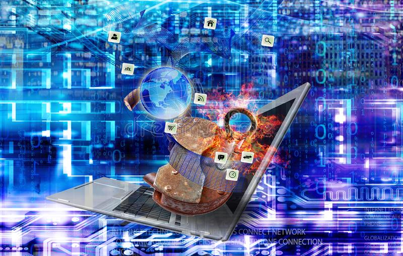Drahtloses Internet der Technologie Computertechnologien stockbild