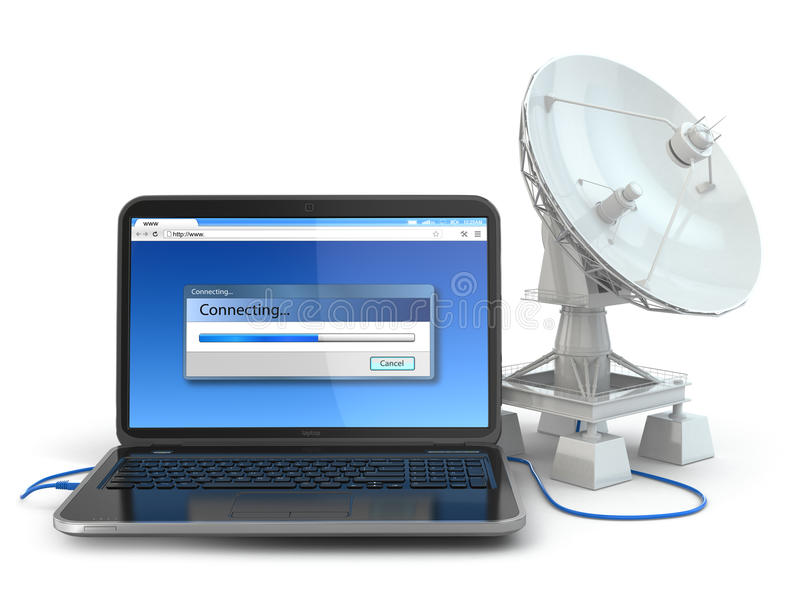 Drahtloses Internet-Konzept.  Laptop und Satellitenschüssel. vektor abbildung