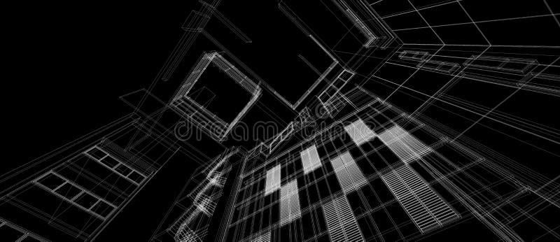 Drahtrahmen der Perspektive des Architekturgeb?uderaum-Konzeptes des Entwurfes 3d wei?er, der schwarzen Hintergrund ?bertr?gt Für lizenzfreie abbildung