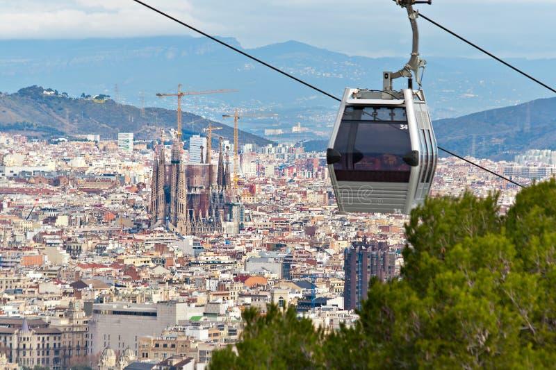 Drahtseilbahn in Barcelona stockfotografie