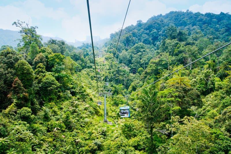 Drahtseilbahn im Regenwald (Genting-Hochländer, Malaysia) stockfotos