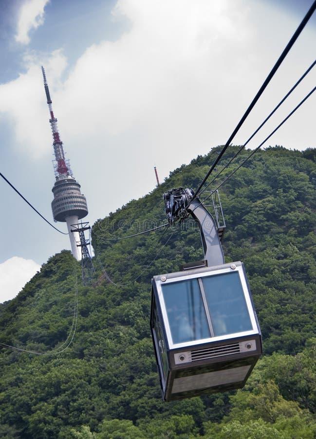 Drahtseilbahn Kontrollturm zum Seoul-N stockfotos