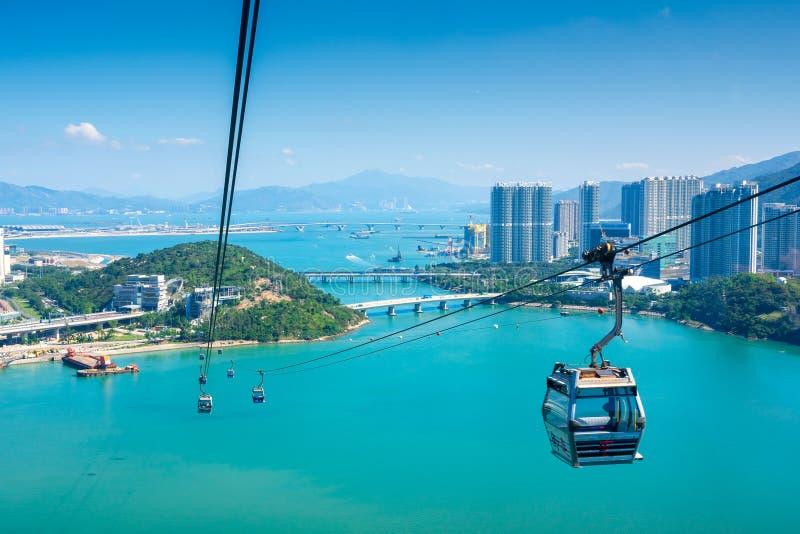 Drahtseilbahn Ngong-Klingelns 360 auf Lantau-Insel, Hong Kong stockbild