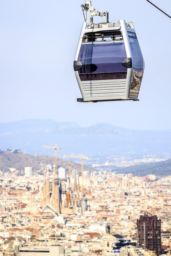 Drahtseilbahn zu Montjuic-Hügel, Barcelona, Spanien stockfotos