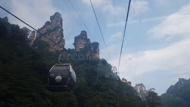 Drahtseilbahn zu Tianzi-Berg stockbilder