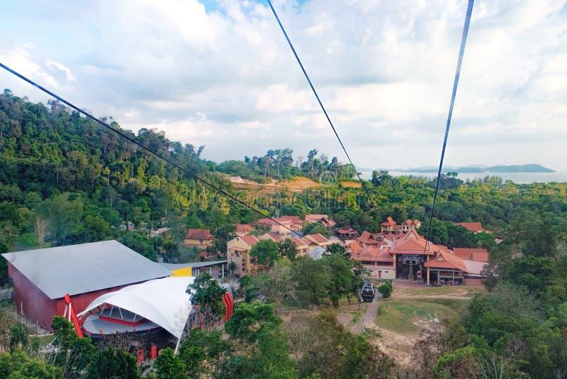 Drahtseilbahn zur Spitze von Langkawi-Insel, Malaysia stockfotos