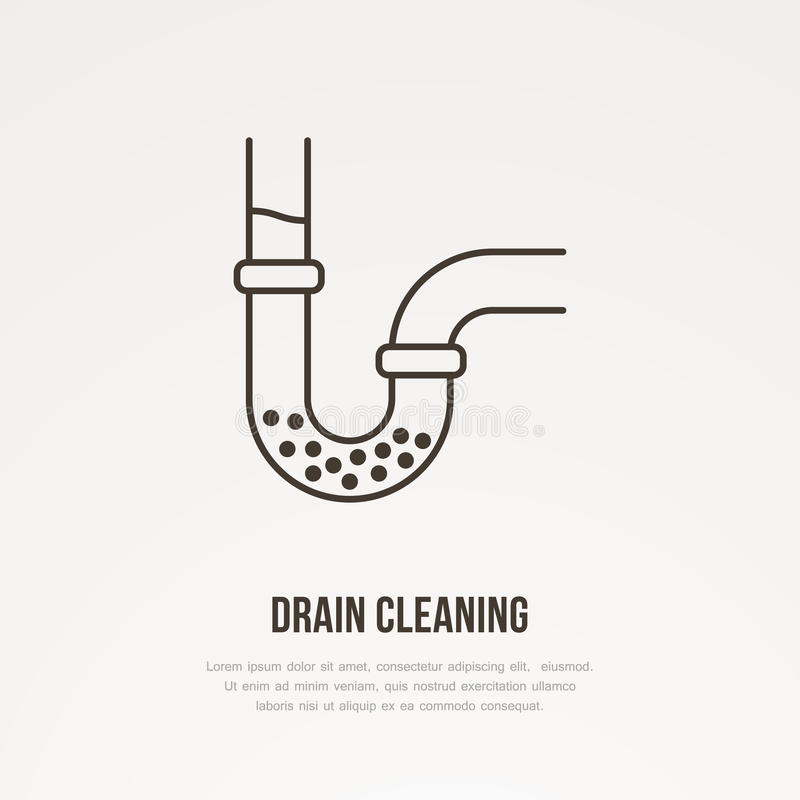 Drain cleaning flat line icon. Outline sign of blocked water pipe. Vector illustration for repair or plumbing service.  stock illustration