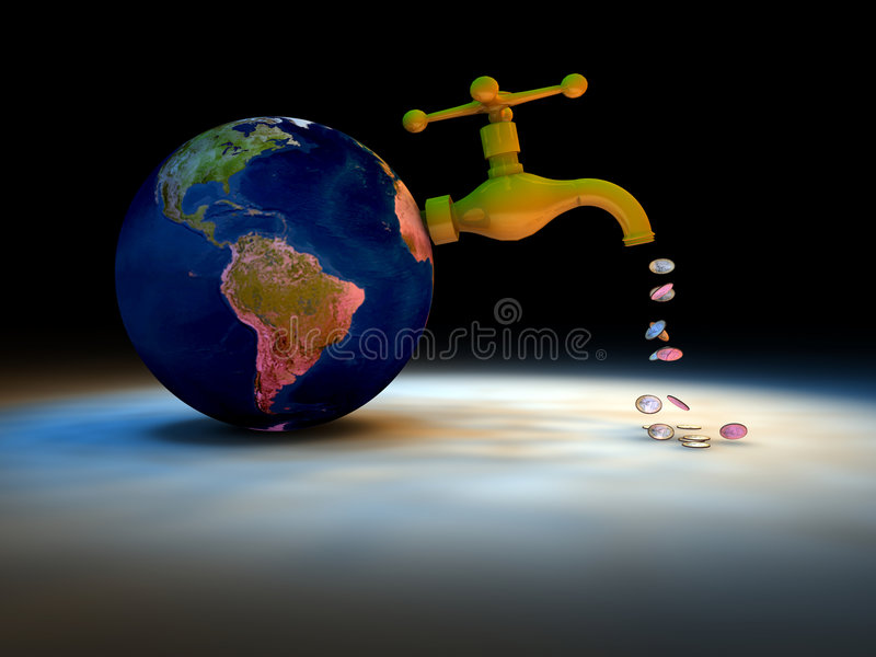 Drain the Earth off. A conceptual illustration depicting the Earth with an open tap attached to it, some small elements flowing out of the tap vector illustration