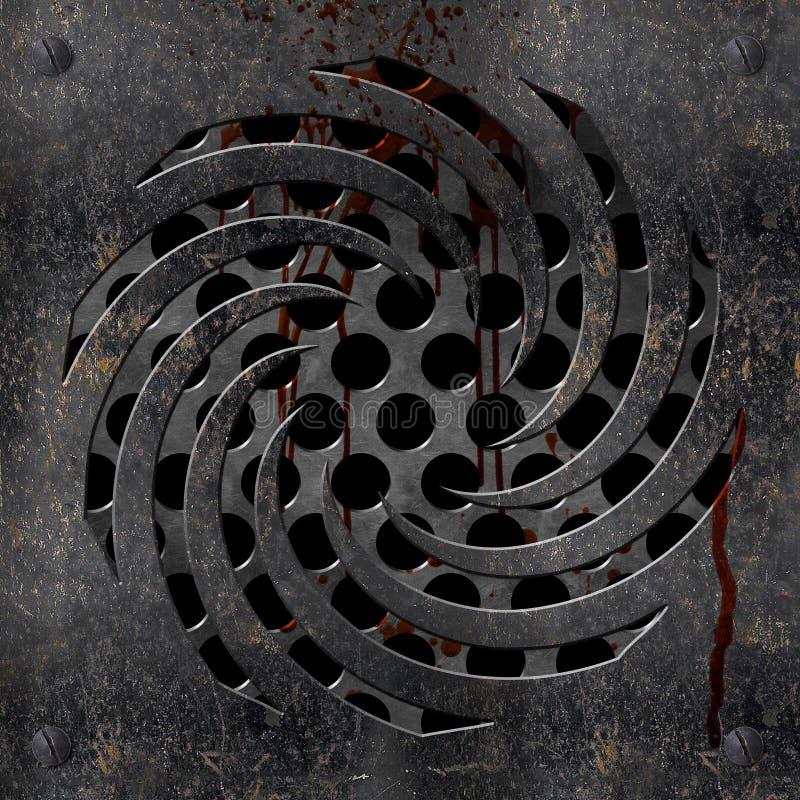 Drain métallique avec le sang illustration de vecteur