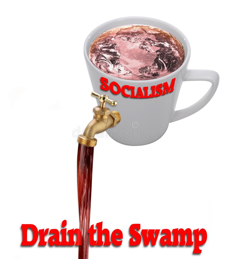 Drain the Swamp. Draining the swamp of Socialism stock images
