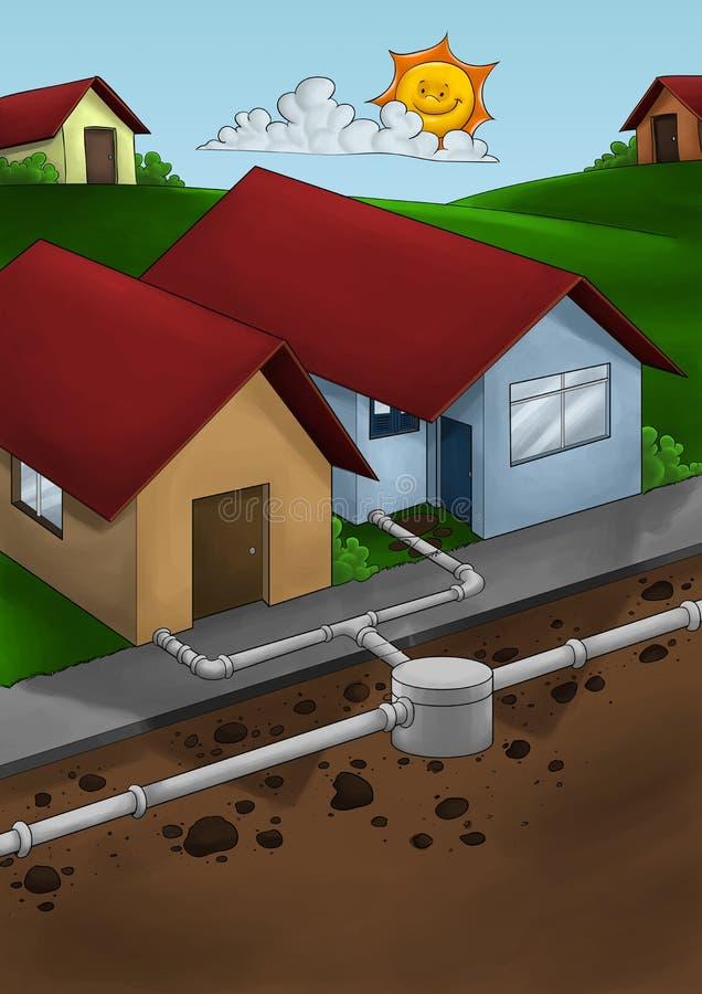 Drain system house stock illustration