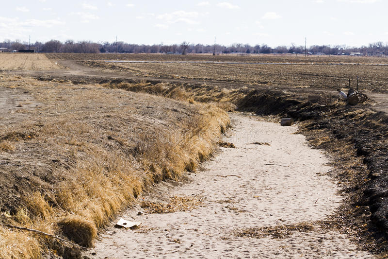Drainage ditch. Without water. grass royalty free stock photography